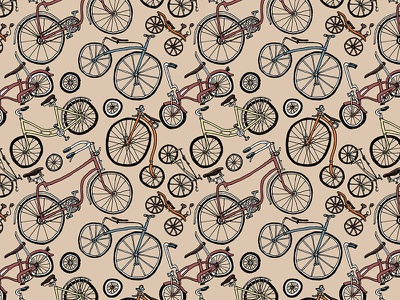 Bicycle Pattern penny-farthing repeating repeat pattern bicycles bicycle bikes bike