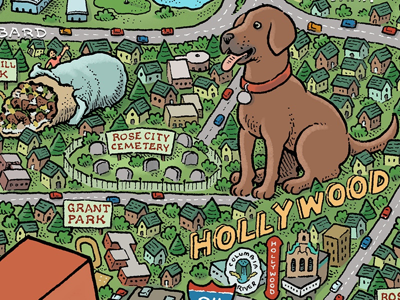 Portland Map: Hollywood burritos dogs pdx bridgetown portlandia stumptown rose city portland illustrated maps map mario zucca