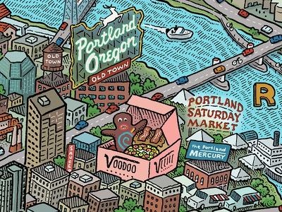 Portland Map: Downtown portland mercury voodoo doughnut pdx bridgetown portlandia stumptown rose city portland illustrated maps map mario zucca