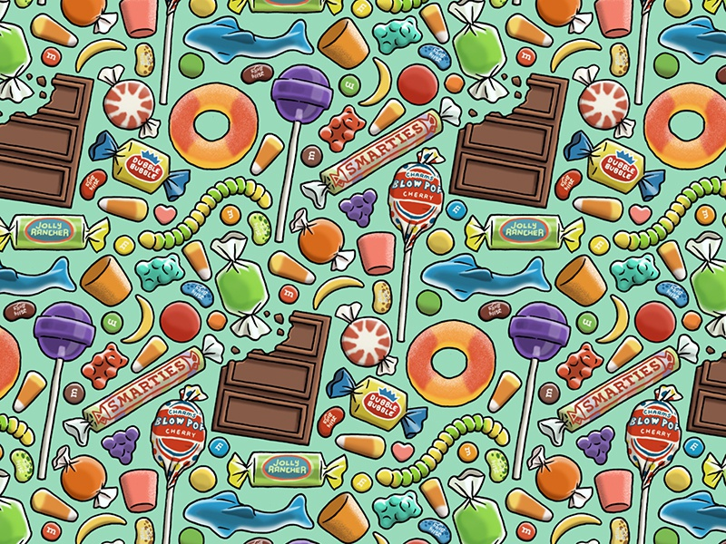 Candy Pattern peach ring dubble bubble smarties blowpop dumdums mms chocolate seamless repeating repeat pattern candy