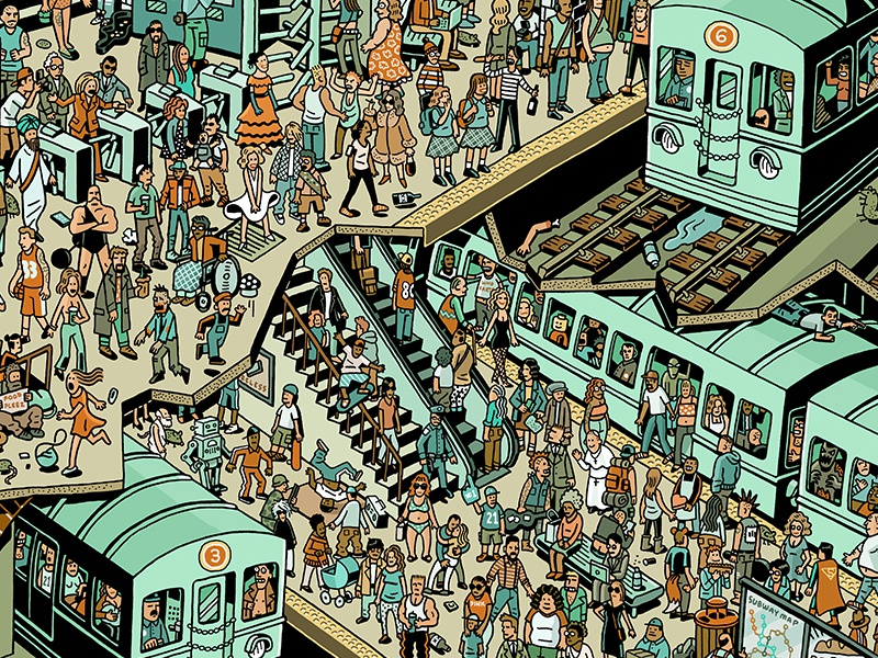 Subway Party mario zucca urban city platform party ink pen crowds subway train illustration drawing