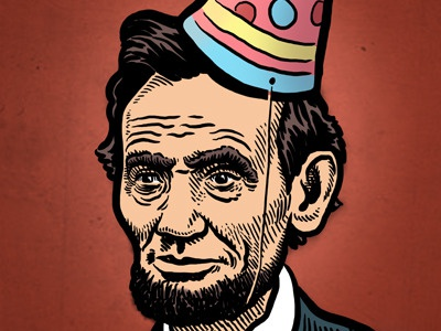 Happy Birthday Abe! mario zucca illustration drawing portrait president birthday abe lincoln abraham lincoln party hat