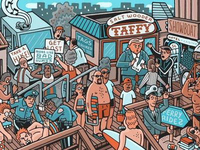Drama Down The Shore beach party jersey shore shore boardwalk beach crowded groups drawing zucca mario illustration
