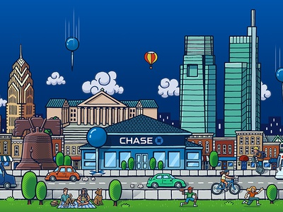 Chase Philly Environmental Graphics urban crowd city chase bank chase philadelphia philly environmental drawing zucca mario illustration