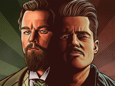 Leonardo DiCaprio/Brad Pitt Portraits the ringer once upon a time in hollywood quentin tarantino leonardo dicaprio brad pitt portrait drawing zucca mario illustration