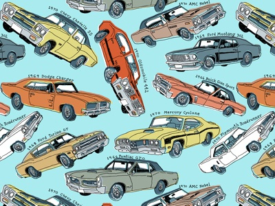 muscle car pattern by mario zucca dribbble
