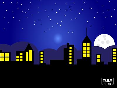 Moon Night City Illustration design adobe illustrator tuly dhar illustration city night moon