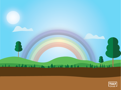 Sunny Day With Rainbow design adobe illustrator tuly dhar illustration rainbow with sunny day sunny