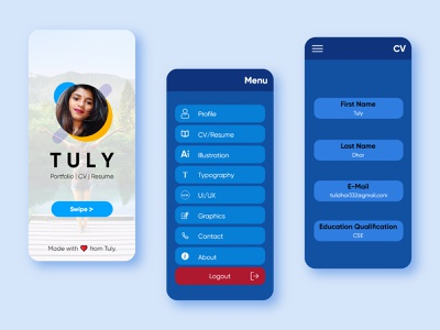 Personal App UI (Concept) adobe illustrator adobexd design xd tuly dhar ui app concept personal