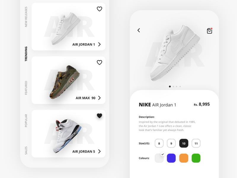 Nike Shoe Design Concept ux animation icon app nike air design art shoe design design shoes ui nike shoes airmax jordan nike ui