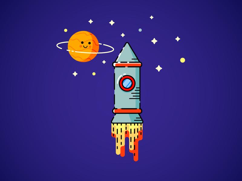 Another simple MBE minimalistic minimalist fire spaceship stars planets space vector minimal mbestyle illustrator illustration icon flat design