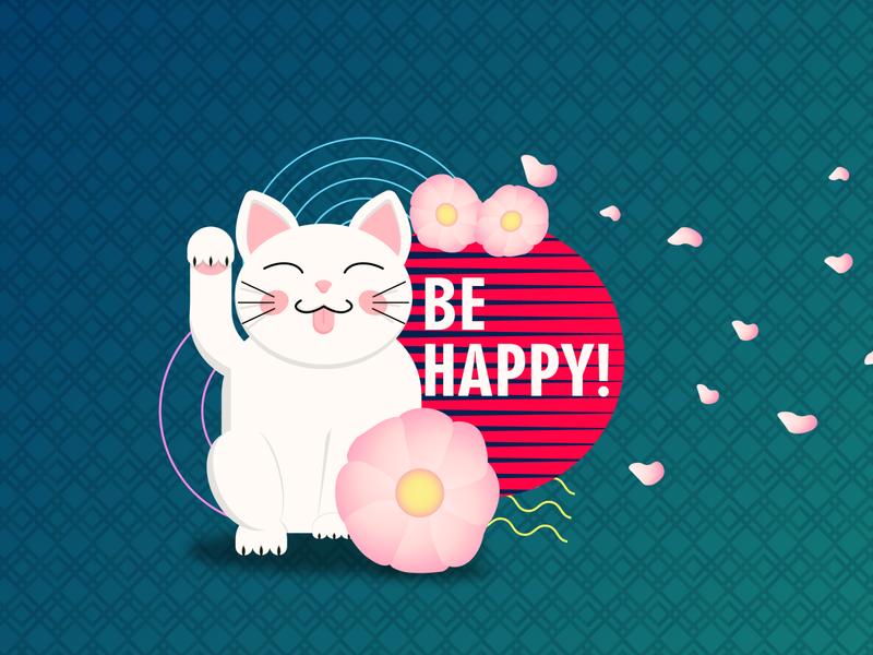 Maneki Neko illustration vector minimal illustraion flatdesign flat happiness happy smile cat maneki-neko maneki neko manekineko maneki japanese culture japanese style japanese japan