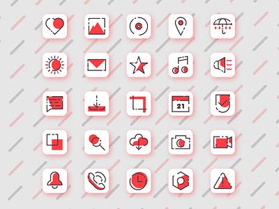 MBE style icons ux design retro sun map icon message icon heart icon phone icon music icon umbrella camera icon modern design icon set icon patterns pattern red mbe style mbestyle mbe