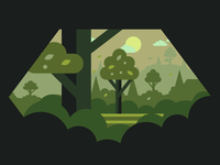 Vector forest illustration illustrator flat minimal vector skyview sunset grass sun green forests woods form panoramic panorama trees tree forest