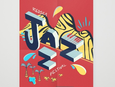 jazz festival poster 02 type art illustrator typography minimal vector illustration design flat branding