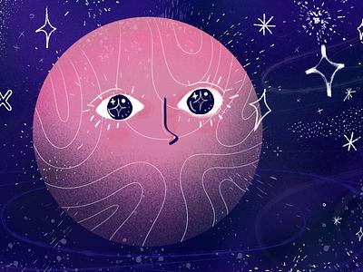 Moon Face Star Explosion stars space moon drawing design art illustration