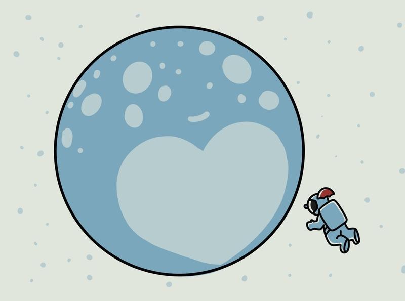 heyastronaut-13 love pluto astronaut illustration