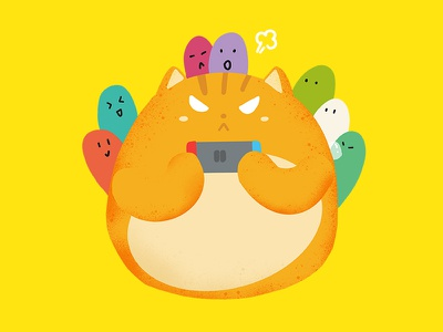 Game meow illustration friends party switch paly game cat