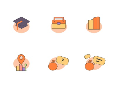 orangeicon ui talk question location office school icon