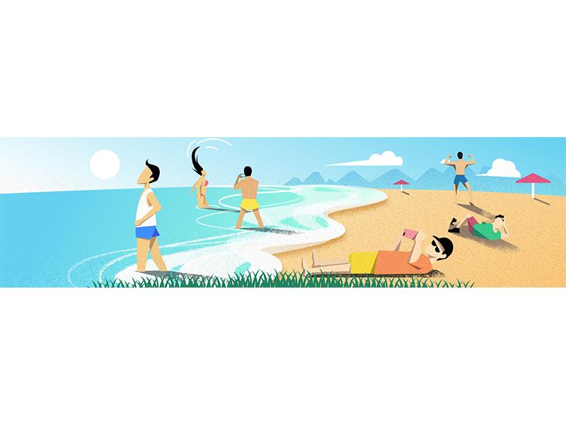 holiday illustration beach ocean holiday
