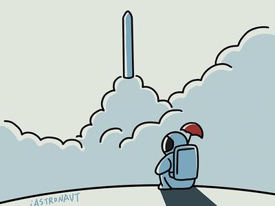 Hey! Astronaut-04 rocket illustration astronaut