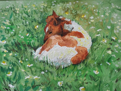Green Grass horse paint filly grass cute watercolor acrylic