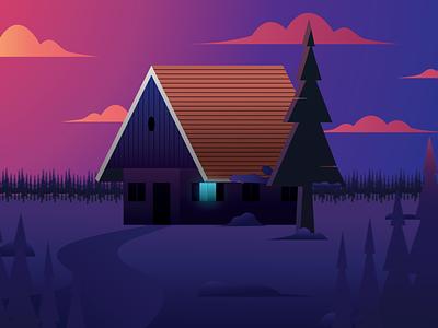 Snow Cabin Flat Illustration vector design illustrator