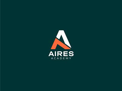Aires Academy education mark lettermark minimal design branding brand logo academy aero