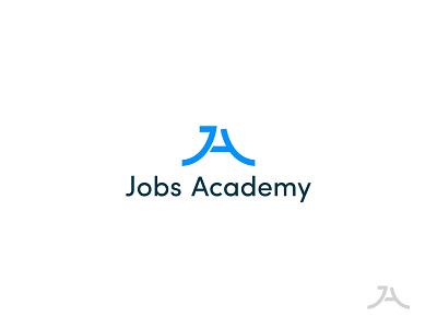 Jobs Academy symbol academy letter lettermark identity minimal design brand logo branding