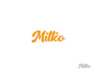 Milko script natural milk wordmark minimal design brand logo branding