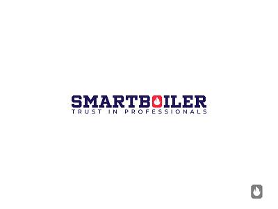 Smart Boiler fire icon hidden meaning wordmark symbol identity minimal design brand logo branding