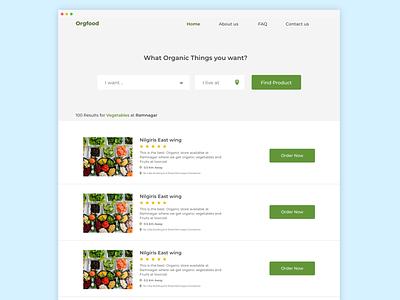 OrgFood Find organic Products Nearby website design web design webui design ui