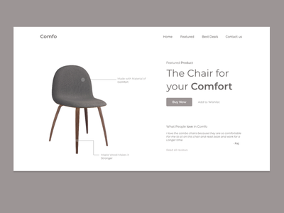 Product Showcase Page For Furniture Business ecommerce product page uidesign negativespace design minimalism simple simplicity