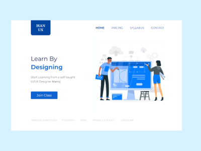 Landing page of Educational Website adobexd xd userinterfacedesign edtech illustration simple design landingpage webdesign web design web
