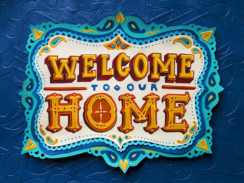 Welcome Home painting hand-lettering welcome welcome home paper cut paper typography