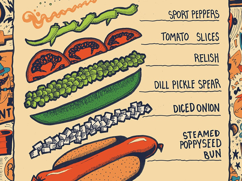 Chicago Dog hot dog denmark food americana ink pen recipe pattern branding party
