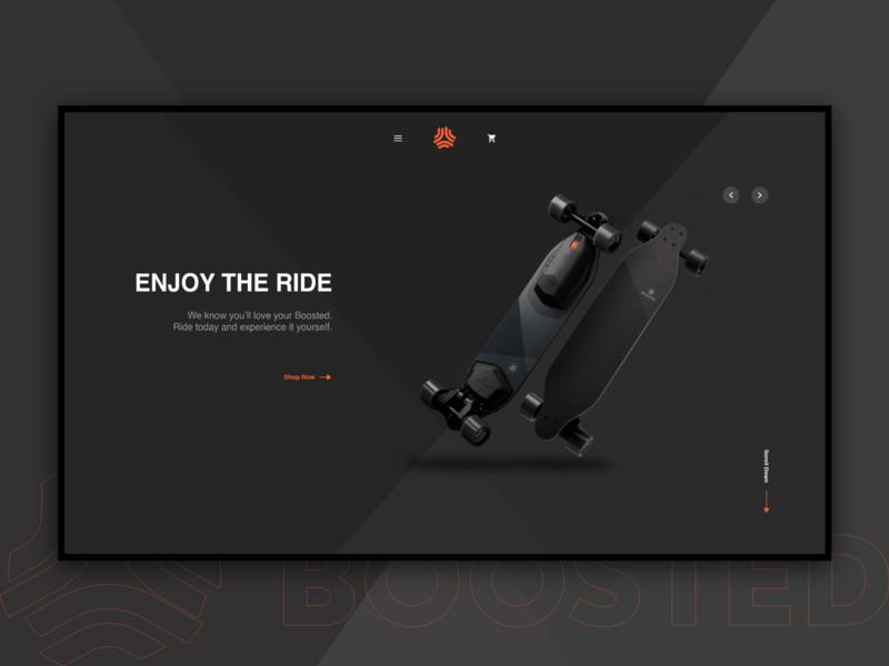 Boosted Boards Website Concept concept redesign xd website minimal web ux ui design