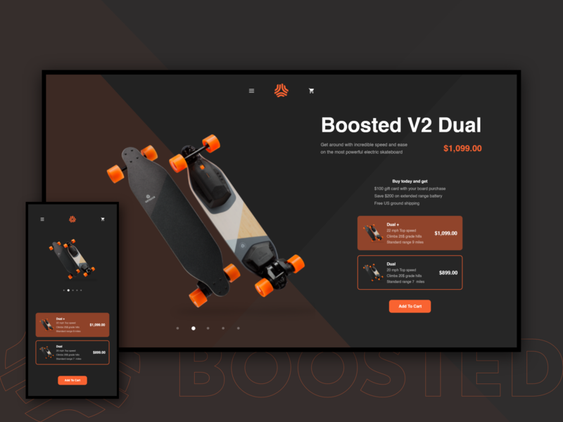 Boosted Boards Product Page xd website web ux ui redesign minimal design concept