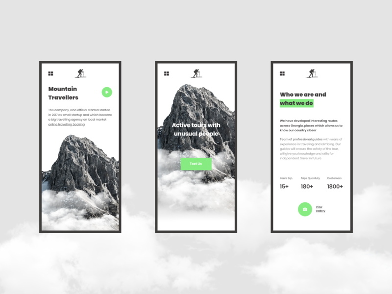 Mountain Travelers Responsive Concept travel app website minimal concept xd web ux ui design