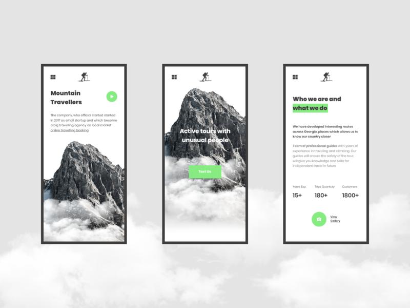 Mountain Travelers Responsive Concept travel app website minimal concept xd web ux ui design