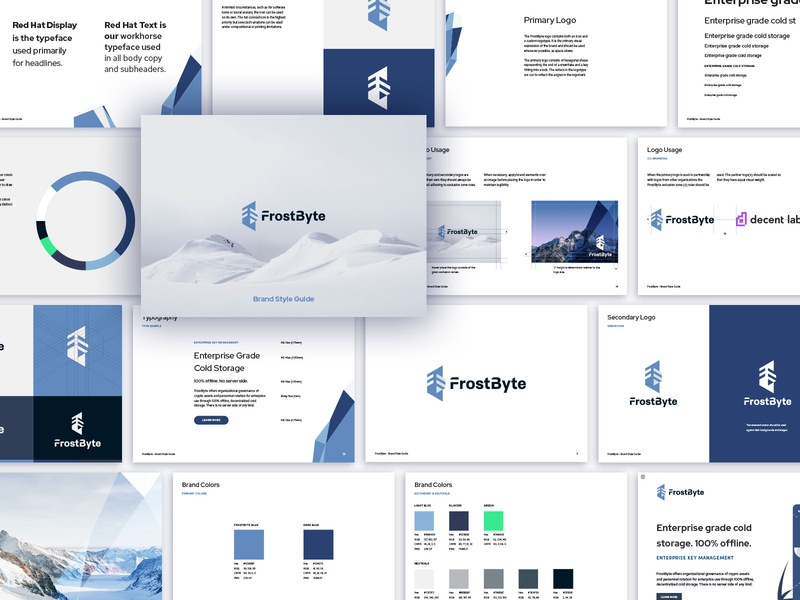 FrostByte Brand Guidelines frost arctic snow presentation work logo security key enterprise software identity design brand design brand agency app design security branding brand identity brand guideline brand guide