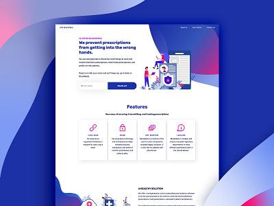 BlockMedx Website Design cards webpage branding design tech pharmacy onepage layout design prescription medical blockchain ux website design