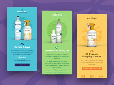 Welcome Products Email Series art direction logo adobe xd web design ux design ui design advertising design email