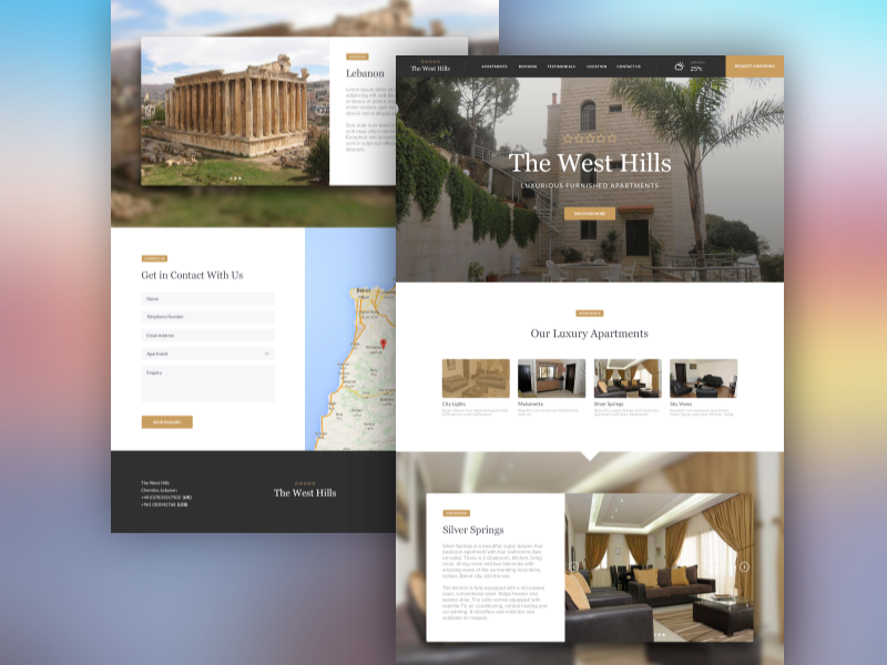 The West Hills, Luxury Apartments tourist holiday hotel single page design ui design web design