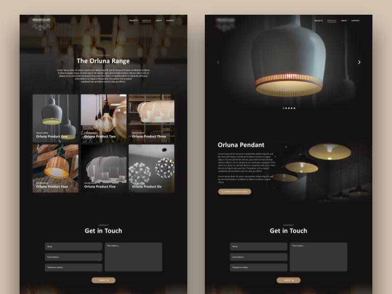 Concept Lighting Specialist Web Design lighting web design ux design ui design