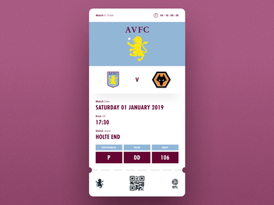 Match Day E-Ticket soccer app ui design e-ticket ticket app football designs aston villa sketch app football app app ui  ux design