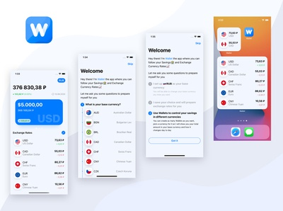 Savings Wallet iOS app (light) design ui modern wallet currency widgets ios mobile