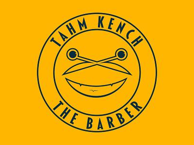 Tahm kench the barber Daily Logo Challenge 13 blue yellow retro ios ux ui logo design happinessdesigns corto bert dailylogodesign dailylogo logotype logos vector logodesign dailylogochallenge branding logo design