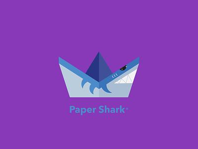 Paper Shark DLC 23 origami paperboat purple blue shark boat happinessdesigns corto bert webdesign ios ux ui vector dailylogochallenge design branding logo