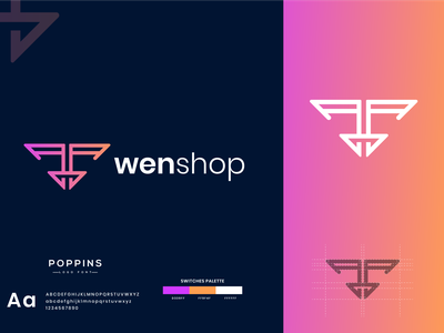 W- Letter- Wenshop Logo Design logo design logo designer new logo logo mark gradient orange minimal sajul2590 logotype company logo branding gradient logo modern logo letter mark logo unique logo flat logo
